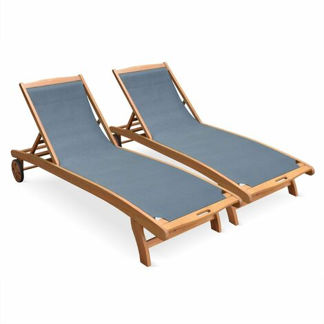 """main image of """"Set of 2 wooden sun loungers - Marbella"""""""
