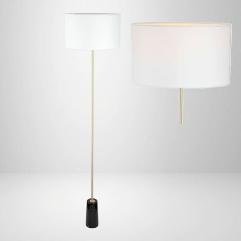 Marble 154cm Floor Lamp with Brass Detail and White Fabric Shade Single or Pair