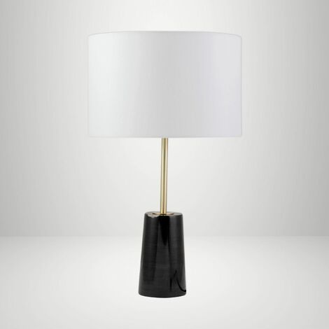 Marble 48cm Table Lamp Bedside Light Brass Detail White Fabric Shade Single Pair