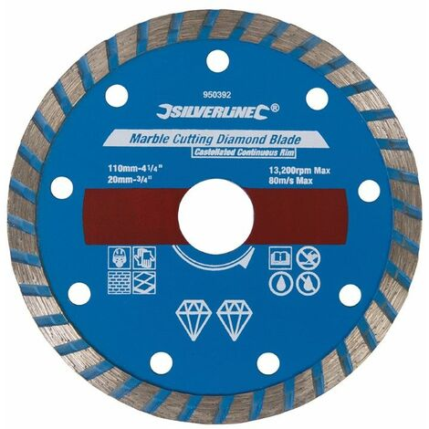 Marble Cutting Diamond Blade 110 x 20mm Castellated Continuous Rim