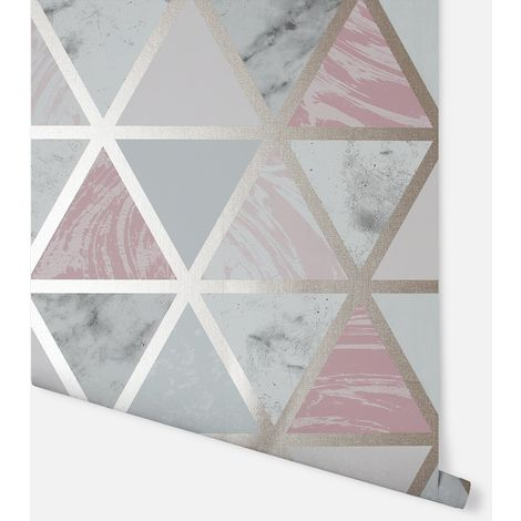 Marble Geo Pink Multicoloured Wallpaper - Arthouse - 692205