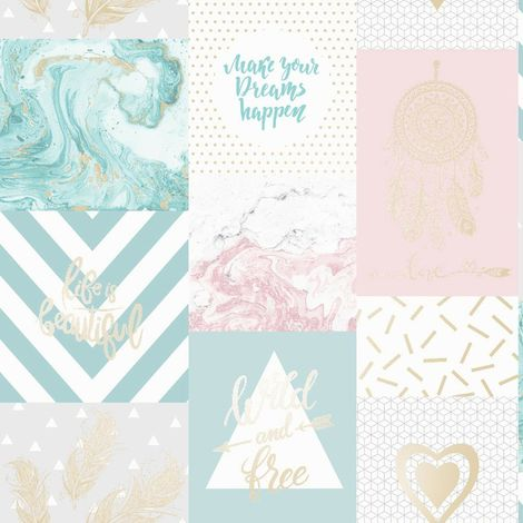 Marble Geometric Collage Kids Wallpaper Pink Blue Metallic Life Is Beautiful