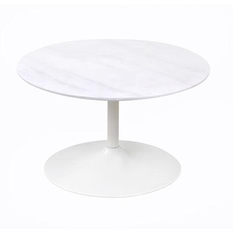 Marble-look Hallie Round Coffee Table, W80cmxD80cmxH45 cm - White
