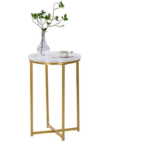 Marble Side Table Modern Small Round Coffee Tea End Side Table with Metal Gold Frame for Living Room Bedroom, 40 x 40 x 60cm