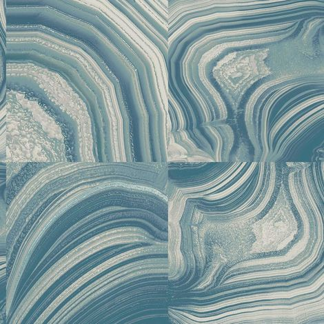 Marble Stone Tile Effect Glitter Wallpaper Teal Blue White Gold Crown Emporium