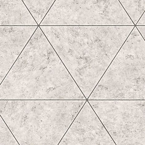 Marble Stone Tile Geometric Wallpaper Grey Metallic Distressed Fine Decor