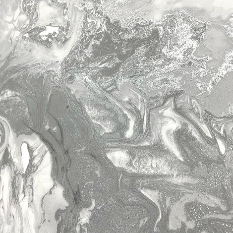 Marble Swirl Effect Glitter Wallpaper Grey Silver Metallic Textured Shimmer