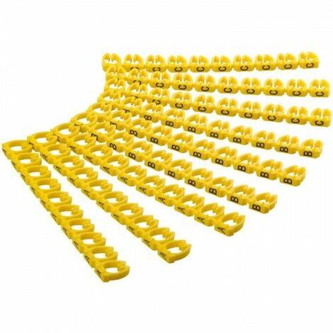 Marcador cables 2.5 mm A-C (90 ud/bolsa) Amarillo