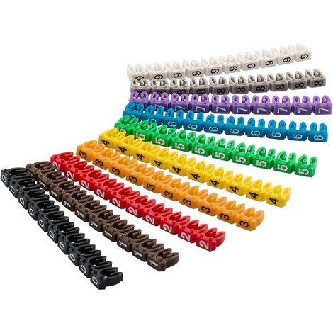 Marcador cables 6.0 mm (100 ud/bolsa) Multicolor