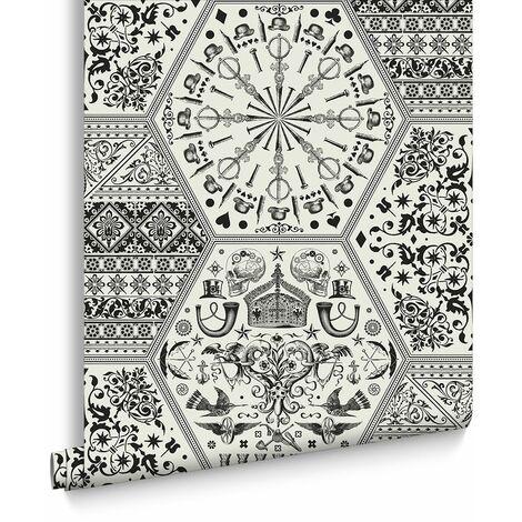 Marcel Wanders Papier Peint Support Intissé World Heritage Vinyle Grainé 1005 x 52 cm Noir Et Blanc