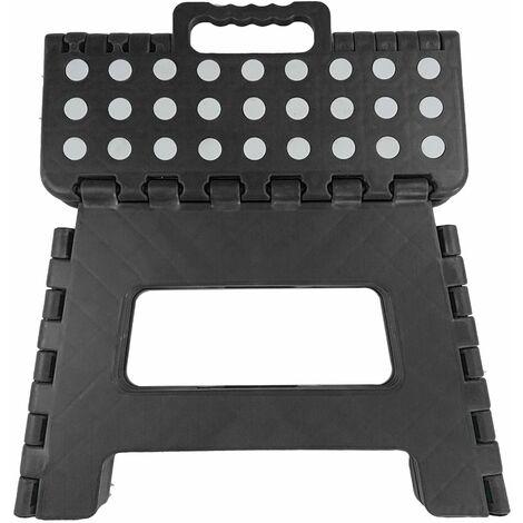Marchepied Pliable - Tabouret Pliant - Facile d'utilisation -Noir - 22x22x29cm .