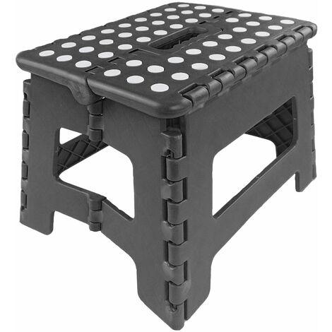 Marchepied Pliable - Tabouret Pliant - Facile d'utilisation -Noir - 22x22x29cm