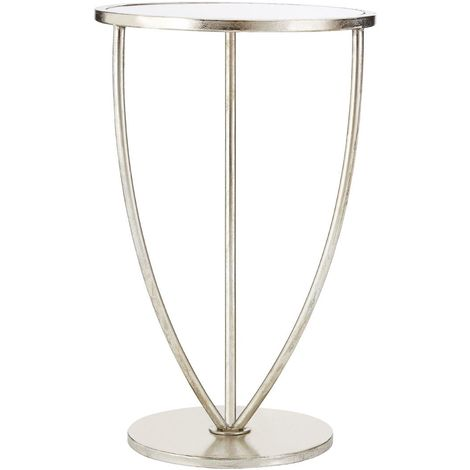 Marcia Side Table, Mirrored Top, Silver Finish