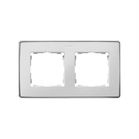 Marco 2 elementos blanco base cromo SIMON 82 DETAIL 8201620-244
