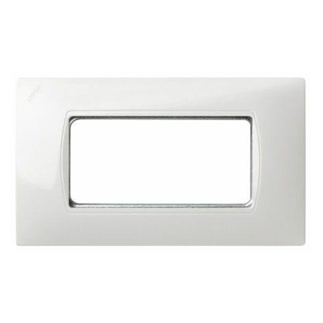 Marco caja americana 4 módulos estrechos blanco con pieza intermedia Simon 27 27615-65