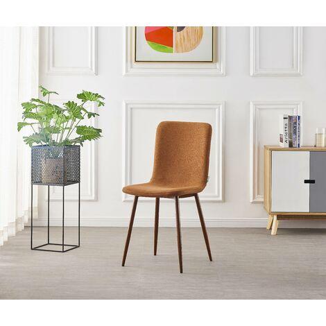 MARCO - Chaise Scandinave en Tissu Coloris Rouille - Style Contemporain - Salle à Manger, Cuisine, Salon, Chambre