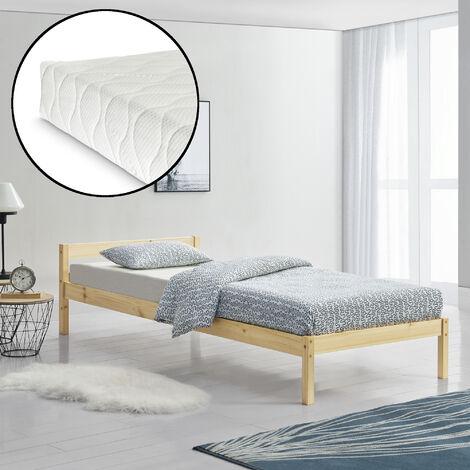 Marco de cama individual con Listones y con Colchón - de Pino - Somier - 90x200 cm - Madera natural