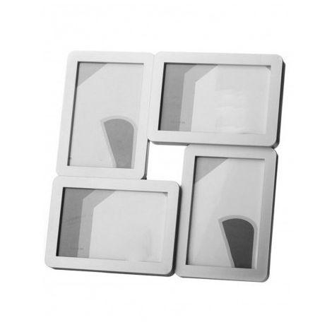 Marco de Fotos o Portafotos Multiple de color Plata. 4 Fotos: 10x15 cm Diseño Moderno/Elegante 29x29x2 cm