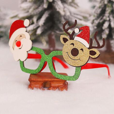 Marco de la decoracion Fiesta de Noel De Noel brillo Vidrios Vidrios del partido del traje favores para vacaciones (Santa Claus y los renos)