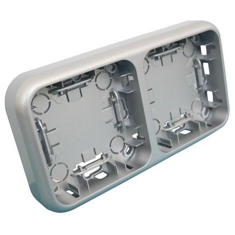 Marco doble para la serie 36.480 de mecanismos de superficie color plata/gris Electro Dh 36.480/MD/PG 8430552140121