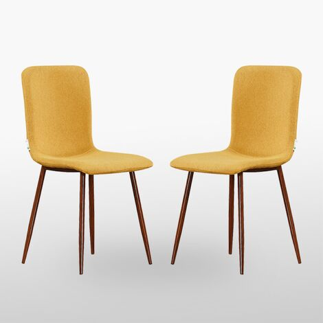Marco Fabric Dining Chair | Soft Upholstered Padded Seating | Curved Back | Retro - Vintage | Modern Fabric Chair | (Mustard, SET OF 2)