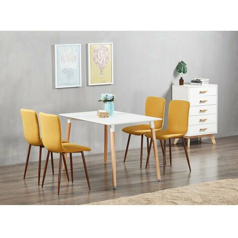 Marco & Halo Dining Set   Modern Dining Chair   5 Piece Set   White Table & Yellow Chair   SET OF 4 CHIARS  