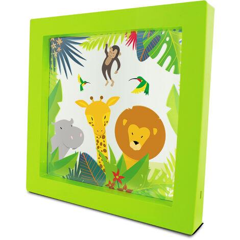 """Marco luminoso 24x24cm """"Le Petit Prince"""", tecnología LED, luz ambiente suave, batería recargable USB incluida"""