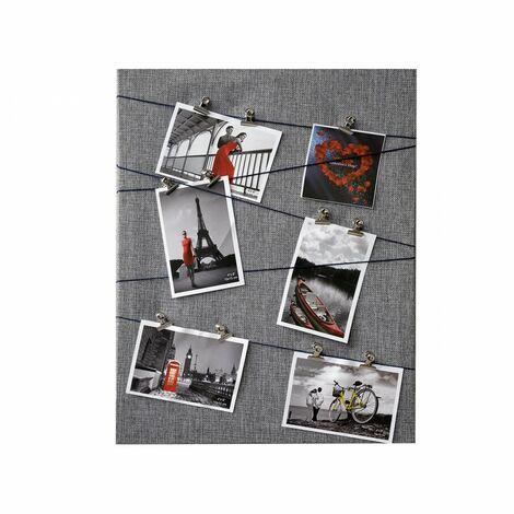 Marco multifoto gris, diseño original de lienzo textil, con sujección por pinzas Memories. 40 x 50 cm. Hogar y mas.