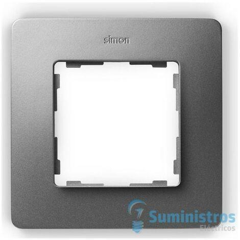 Marco para 1 elemento Simon 82 Detail Original 8200610-093 Aluminio frio base blanco