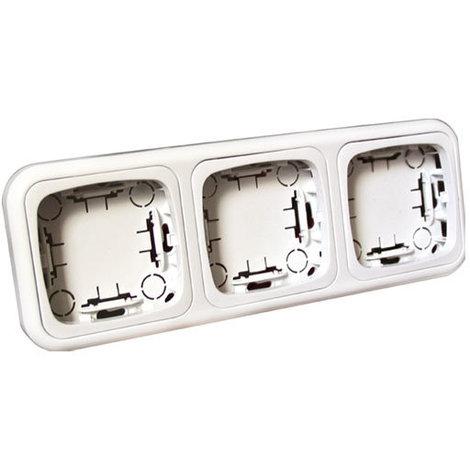 Marco triple para la serie 36.480 de mecanismos de superficie de Blanco Electro Dh 36.480/MT, color blanco, 8430552111626