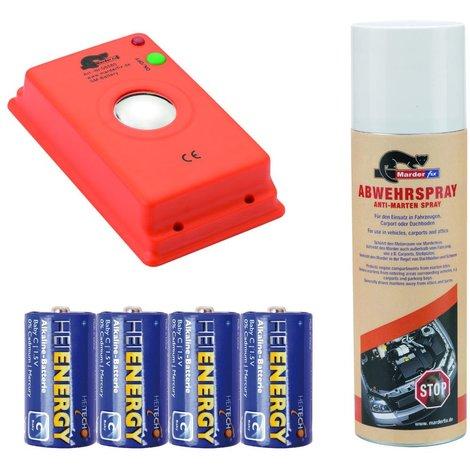 Marderfix - Akustik Batterie - inklusive Abwehrspray und Batterien
