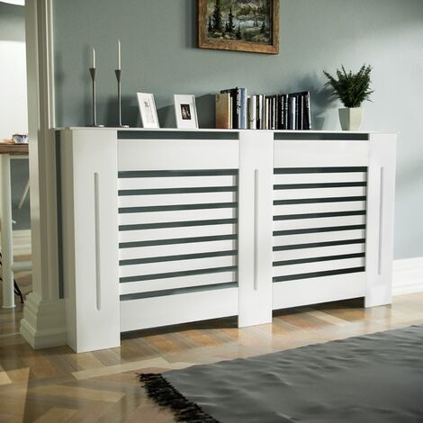 Marg Large 1520mm Traditional MDF Wood Radiator Cover Grill Cabinet Matte White