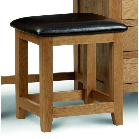 Margie Dressing Table Stool Solid American Oak & Brown Leather Seat