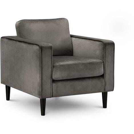 Marguerite Grey Soft Velvet Armchair Black or Oak Legs
