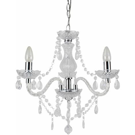 Marie Therese 2, 3 & 5 Ceiling Light Acrylic Chandelier & Wall Clear Black