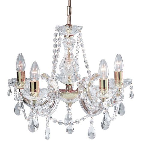 Marie Therese Polished Brass 5 Light Chandeliers (pack Of 4)