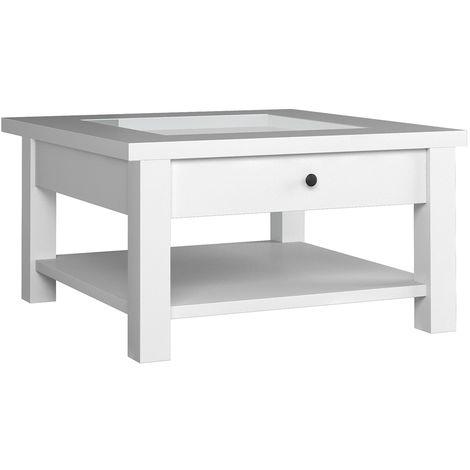 MARIME - Table basse salon/séjour - Style bord de mer - 93x54x93 cm - Plateau vitré + étagère + tiroir - Rangement télécommandes - Blanc