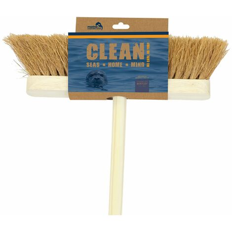 "Marine Conservation Society 12"" Soft Natural Coco Wooden Broom - Natural"