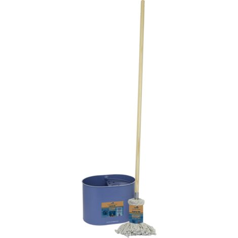 Marine Conservation Society Plastic Free Galvanised Mop Bucket & Cotton Mop Set