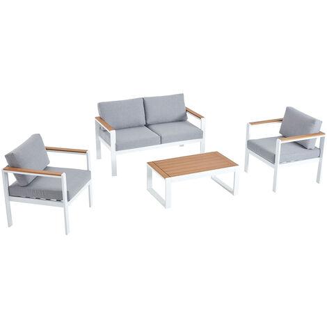 Maringo, salon de jardin bas blanc alu 4p