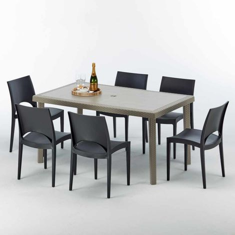 MARION Set Made of a 150x90cm Beige Rectangular Table and 6 Colourful Chairs