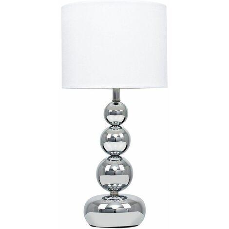 Marissa Chrome Touch Table Lamp White Shade Euro Plug