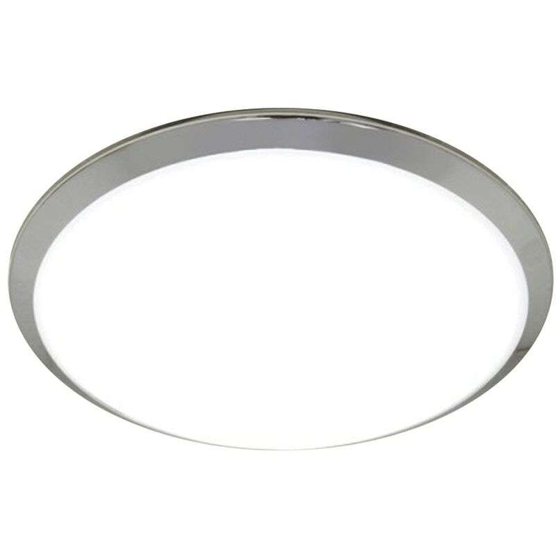 Image of Marius Circular Ceiling Light with Chrome Details & Diffused Shade - HIB