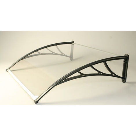 Markise Canopy With Clear 5mm Twinwall Polycarbonate Glazing - 1500mm x 1200mm Black