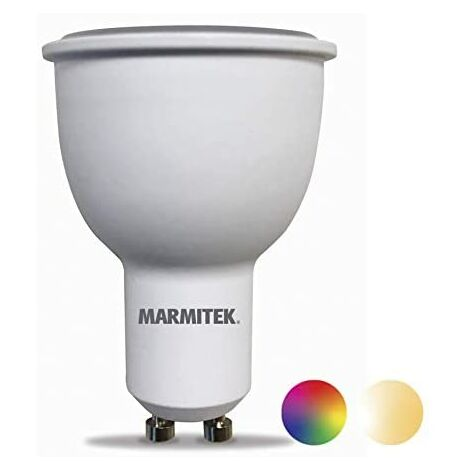 Marmitek Glow XSO Lámpara LED Smart WiFi-E14-380 lúmenes-RGB-16 millones de colores-4.5 W=35 W-MR16-GU10-Regulable con aplicación-Compatible con Alexa, Google Home-No requiere hub
