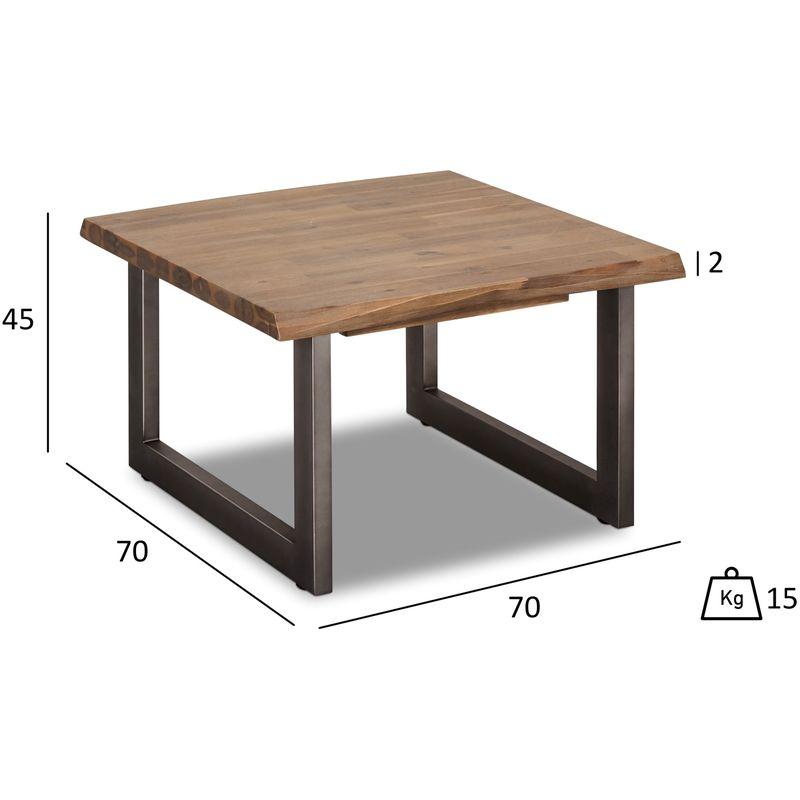 Maro Couchtisch 70x70 cm, braun, Akazienholz, Metall grau. 45-130026 - PKLINE