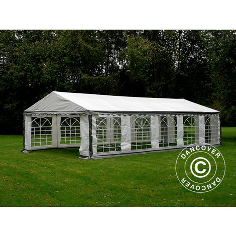 Marquee Party tent Pavilion PLUS 4x10 m PE, Grey/White