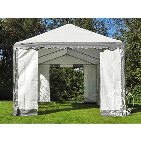 Marquee Party tent Pavilion PLUS 4x6 m PE, Grey/White