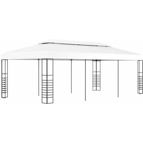 Marquesina cenador de jardín blanca 6x3 m