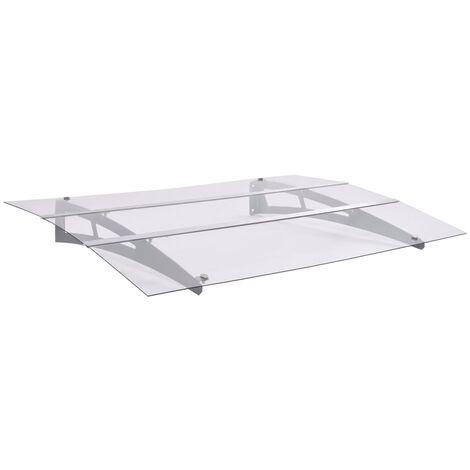 "main image of ""Marquesina de puerta policarbonato plata transparente 120x90 cm"""